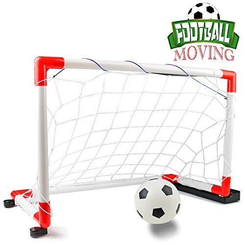 Nuheby Fussballtor Fußballtor Kinder Garten Mobile Mit Musik, Indoor Outdoor Fussball Tor Spielzeug ab 3 4 5 Jahre Junge Mädchen(67 * 30 * 41.5cm)