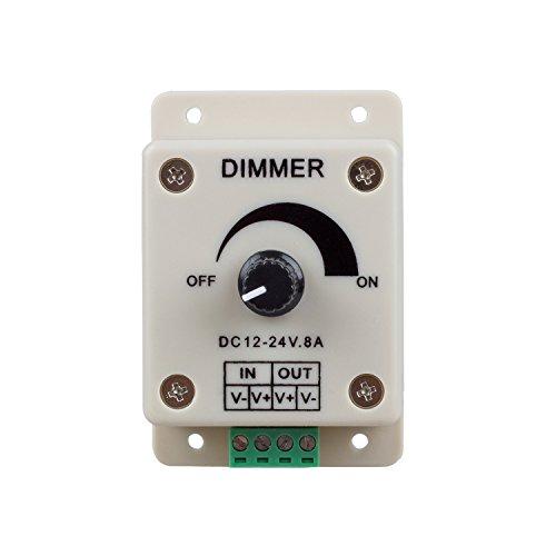 SODIAL(R) PWM Dimming Controller für LED Lampen, Ribbon, Strip, 12-24 Volt (12V - 24V) 8 Amp, Elektroschalter Dimmer für Haus, Handel, Industrie und Büro.