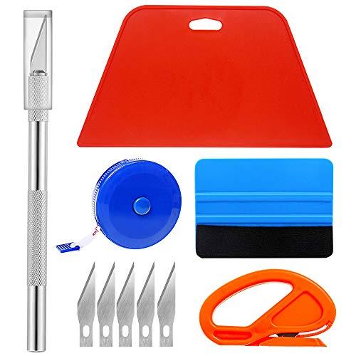 Ewrap Herramientas de papel tapiz Kit de papel tapiz con cuchillas, rasqueta de fieltro, raspador duro, cinta métrica