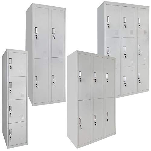 Spind Schließfachschrank Metallschrank Mehrzweckschrank Umkleideschrank Garderobenschrank ; Grau-Grau / 4 Fächer zweireihig