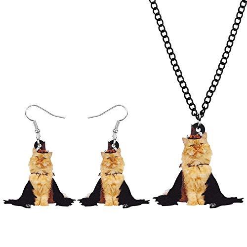 AMINIY Acrílico Halloween Marrón Gato Joyería Conjunto Lindo Gatito Mascota Animal Pendiente Collar For Mujer Niña Amigos Regalo De Cumpleaños (Color : Brown)