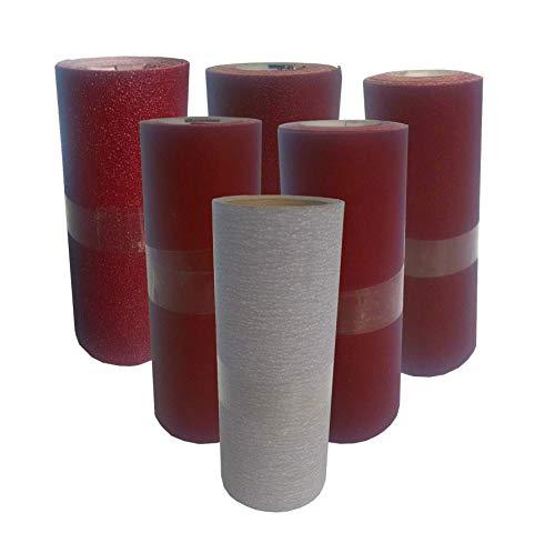 Set de Papier à poncer lot de 6 rouleaux de 2mx10cm grain 80,100,120,180,240 et 400 abrasif pour bois, acier peinture… papier de verre ponçage facile. Utilisation main et cale à poncer