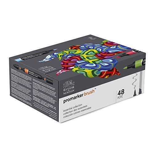 Winsor & Newton - Set de 48 rotuladores BrushMarkers, Colección Colores Esenciales
