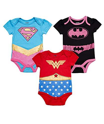 DC Comics Baby-Girls - Mono de manga corta con diseño de Superman Flash Batgirl - - 3-6 meses