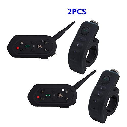 LNLJ Motorrad-Sturzhelm Bluetooth Intercom Headset Mit Griff-Controller, 1200M Kommunikation Entfernung, VOX Voice-Trigger Anschluss Von Bis Zu 6 Fahrern Große,2 pcs