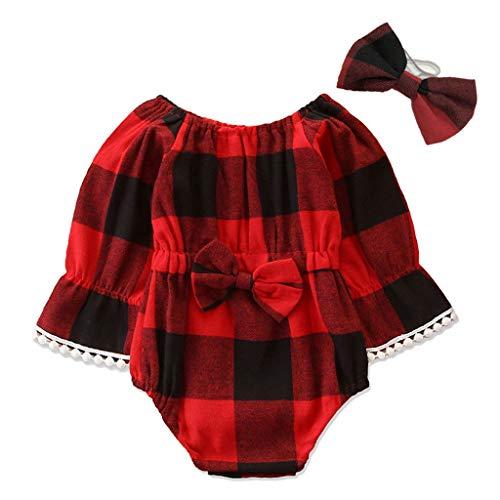 Kobay Kleinkind Kleinkind Baby Mädchen Plaid Bowknot Strampler Jumpsuit Outfits Neugeborene Mädchen Bodysuit Kletteranzug Langarm Plaid Harness Kletteranzug (3-24M)