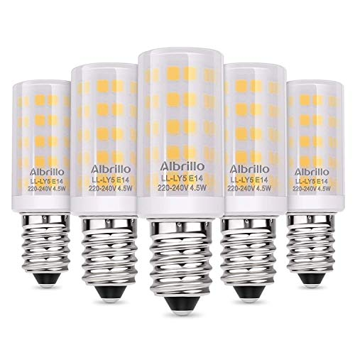 Albrillo LED E14 Warmweiß 4.5W / 380LM mit 64 SMD LEDs, 50W Halogenlampen Ersatz, 5er Pack