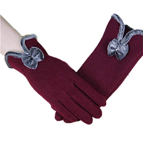 Winter Warm Wool Cashmere Lace Gloves For Women Bow Decorations Female Full Finger Gloves Mittens G032 Wine Red