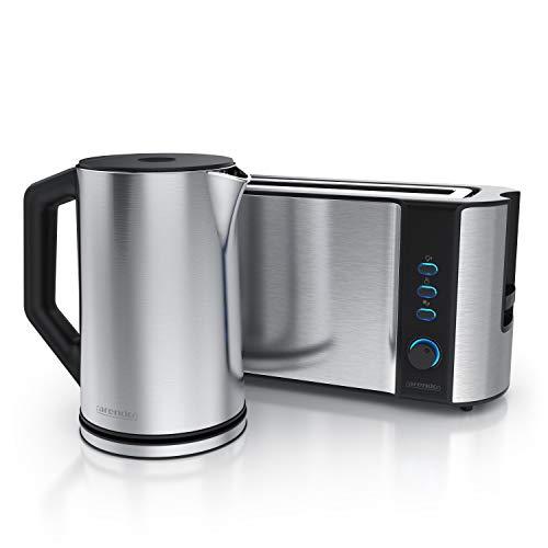 Arendo - Edelstahl Wasserkocher 1,5 Liter mit Temperaturauswahl + Arendo Edelstahl Langschlitztoaster mit Brötchenaufsatz 2 Scheiben - Wasserkocher Doppelwand Design - Küchen Set - Silber
