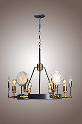 Mid Century 6 Light Industrial RH Gaslight Lens Chandelier