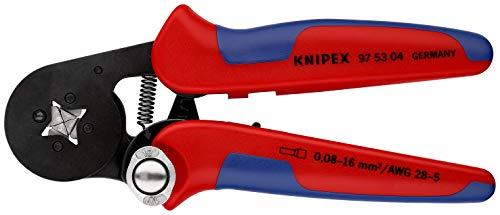 KNIPEX 97 53 04 Selbsteinstellende Crimpzange für Aderendhülsen mit Seiteneinführung brüniert mit Mehrkomponenten-Hüllen 180 mm