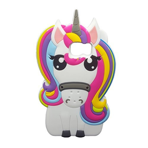 Samsung S7Edge Fall, awin 3D Fashion Soft Rubber Silikon Case, Rainbow Unicorn