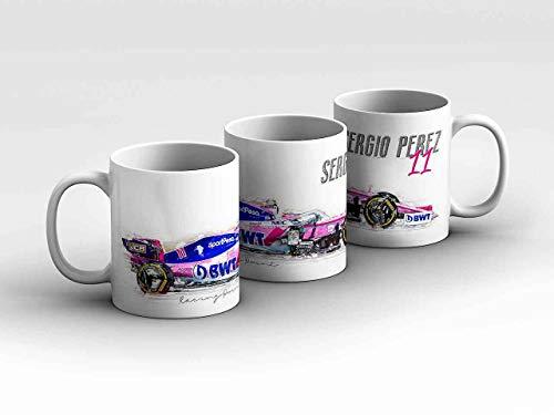 Formel 1 Tasse - Sergio Perez - SportPesa Racing Point F1 Team - Silhouette weiß Kaffeebecher