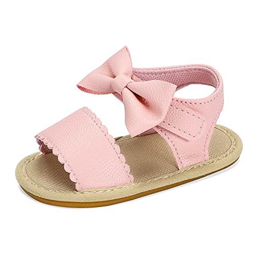 MASOCIO Sandalias bebe Niña Zapatos Bebé Verano con Suela Goma Talla 18 Antideslizante 3-6 Meses Rosa