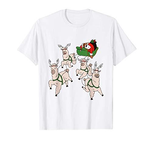 Pereza navideña y llamas durmiendo en el trineo Camiseta