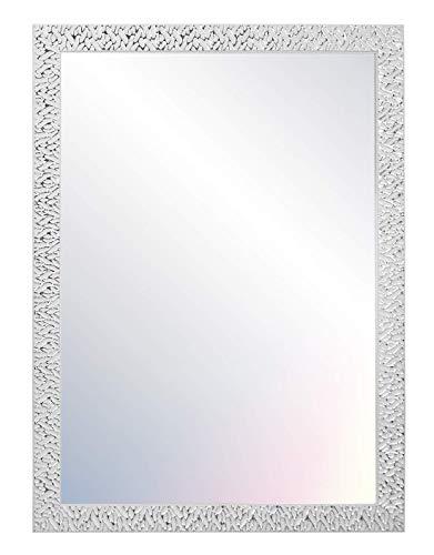 Chely Intermarket - Espejo de Pared Cuerpo Entero 60x80cm (Marco Exterior 68x88cm) Blanco/Raya Plateado MOD-156 | para salón, recibidor, Acabado Elegante, Ideal para decoración.(156-60x80-3,05)