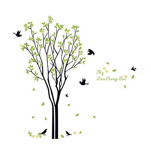 Runinstickers Pegatinas De Pared Buena Vida Mi Árbol De Naranja Lima Quote Gran Árbol con Pájaros Y Hojas Extraíble De Pared Pegatinas Adhesivas