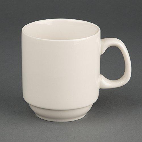 Olympia Lot de 12 tasses empilables en porcelaine Ivoire 285 ml