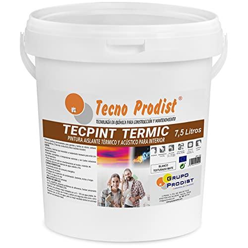TECPINT TERMIC de Tecno Prodist - (7,5 Litros) Pintura interior al agua, con aislante térmico y acústico - Antihumedad - Paredes y Techos - Super blanco - Fácil Aplicación - Sin olor (BLANCO)