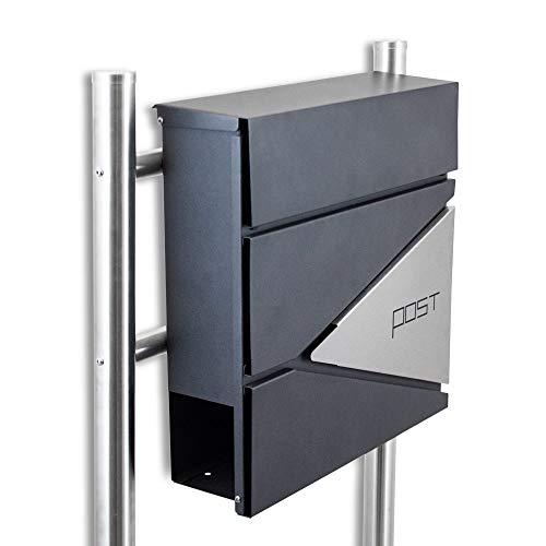 BITUXX® Design Standbriefkasten 16767 Briefkasten Briefkastenanlage Freistehender Postkasten mit Zeitungsfach Anthrazit Graphit Edelstahl