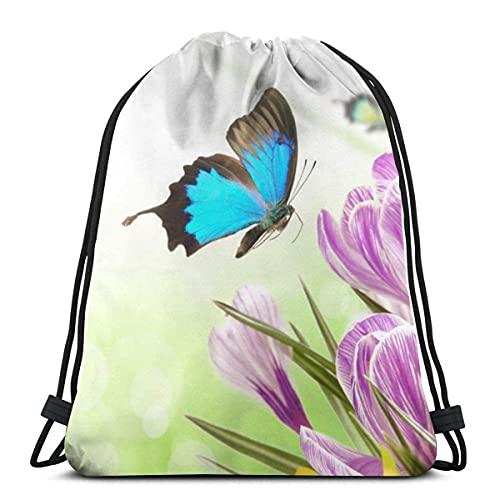 Lmtt Bolsas con cordón Mochila de mariposas de primavera Bolsas de cuerda para tirar a granel Almacenamiento deportivo Gimnasio para niños Mochila de viaje impermeable como imagen