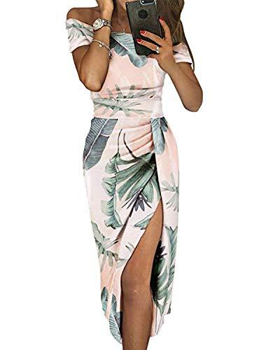 kenoce Damen Abendkleider Sexy Schulterfrei Partykleider Etuikleid Einfarbig Knielang Cocktailkleid Bodycon Sommerkleider mit Weiß Schlitz L