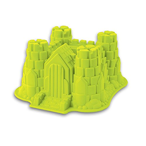 Silikon-Form, Modell: Ritterburg/Schloss, geeignet zum Backen von Kuchen und Torten sowie zur Zubereitung von EIS oder Götterspeise. Eine tolle Überraschung für Partys und Geburtstage (grün)