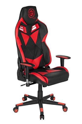 hjh OFFICE 734020 Gaming-Stuhl GAMEBREAKER SX 03 Rot hohe Rückenlehne, Gamer Schreibtischstuhl, 73 x 69 x 129-139 cm