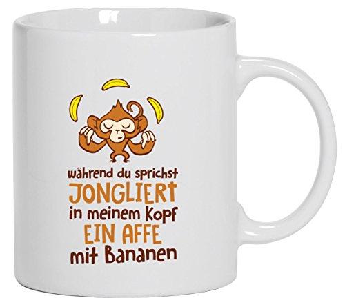 Shirtstreet24, Jonglierender Affe, Kaffee Becher mit Motiv bedruckte Tasse Mug Kaffeebecher, Größe: onesize,Weiß