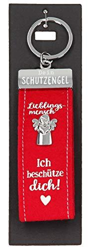 Depesche 10890.001 Schlüsselanhänger aus Filz, mit Schutzengel und Aufschrift, Lieblingsmensch Ich beschütze dich, rot, ca. 15 cm
