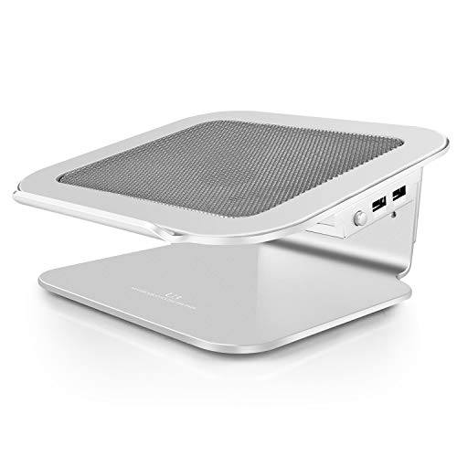 """Simple Deluxe Laptop Stand with Quiet Cooling Fan for Desk Sturdy Aluminum Alloy Frame Fits All Notebooks from 10""""-17"""", MacBook Pro Air, Chromebook, Lenovo, Acer, HP, Dell"""