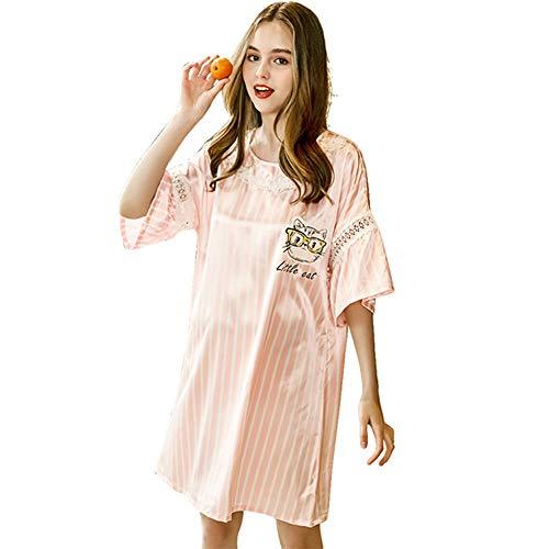 ZWLXY Sommer-EIS-Silk Nightgown Female Home Service Lösen Plus Komfort Imitation Silk Sexy Schwangere Frau Negligée,Rosa,XL