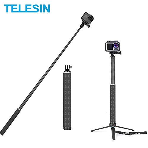 TELESIN Selfie-Stativ,90 cm,Kohlefaser,Selfie-Stativ,Kohlefaser, leicht,Einbeinstativ für GoPro Hero,3-in-1 Teleskopstange und Mini-Stativ All Kohlefaser für DJI OSMO Action,und weitere Action-Kamera
