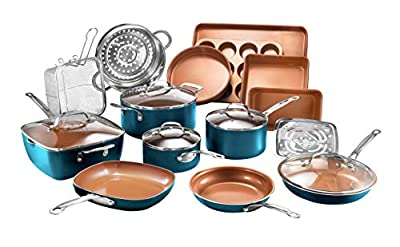 Gotham Steel Cookware + Bakeware Set with Nonstick Durable Ceramic Copper Coating ? Includes Skillets, Stock Pots, Deep Square Fry Basket, Cookie Sheet and Baking Pans, 20 Piece, Turquoise