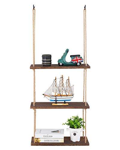 SOLEDI Floating Shelves, Rustic Wood Wall Hanging Shelves, Wall Shelf Decor and Storage 2 in 1, for Living Room, Bedroom, Bathroom, Office, Kitchen Etc (3 Tier)