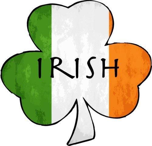 ION Graphics Irish Flag Decal - Irish Flag with Irish Shamrock Vinyl Sticker - Irish Shamrock Bumper Sticker - Shamrock Decal - Perfect Irish Heritage Gift - Made in The USA Size: 4 x 3.8 inch inch