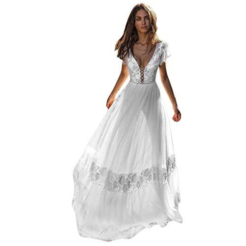 Vestidos De Fiesta Mujer Largos para Boda Blanco,Vestidos Verano Mujer Blanco Playa,Blusa...