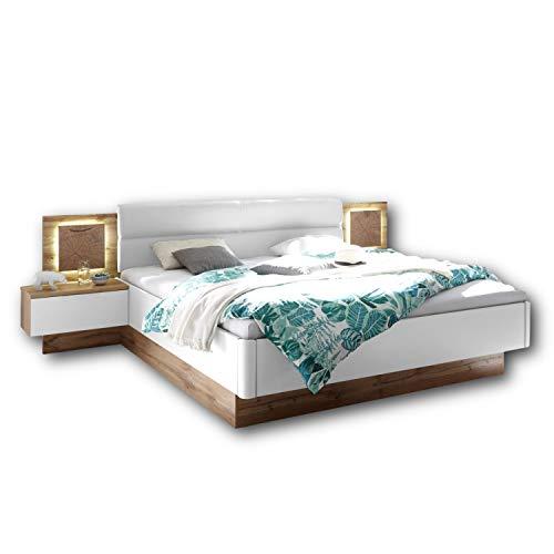 Capri Stilvolle Doppelbett Bettanlage mit LED-Beleuchtung 180 x 200 cm - Schlafzimmer Komplett-Set in Wildeiche-Optik, Weiß - 305 x 96 x 205 cm (B/H/T)
