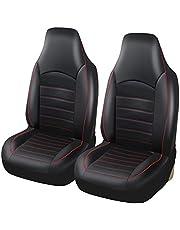 AUTOYOUTH シート カバー ミニ/普通 車 用 ソフト レザー ブラック バケット シート プロテクター フロント シート 用 2 個 レッド