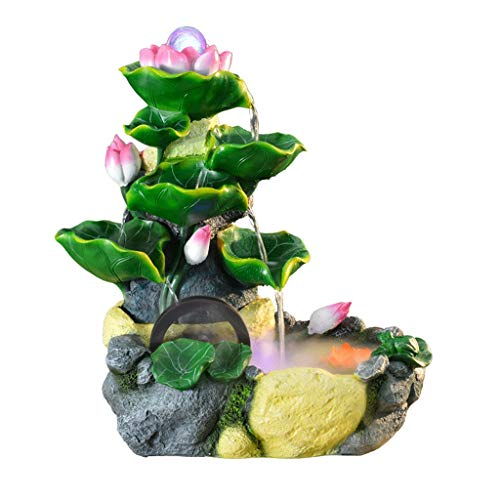 Water Fountain Lotus Pond Tabletop Fountain for Office, With Atomization, Portable Feng Shui Fountain Indoor and Outdoor With LED Ball On The Decorations (Size : Small)