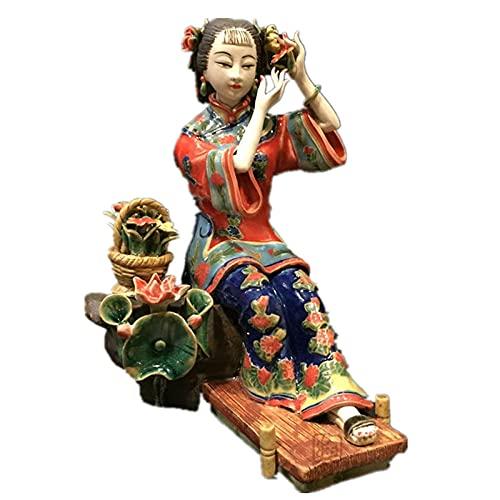 YANGHONDD Escultura Decoración Estatuas Figuritas Bustos Decoraciones para El Hogar De La Estatua De La Figura Femenina del Arte Pintado Clásico De Cerámica