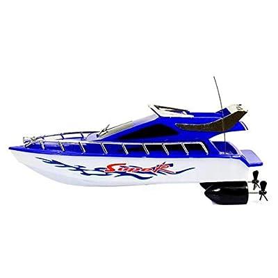 Bateaux télécommandés, bateaux électriques RC de vitesse de course pour piscines et lacs 2,4 Ghz 20 km / h haute vitesse 4 canaux jouets télécommandés pour bateaux pour enfants et adultes (26x7,5x9cm)