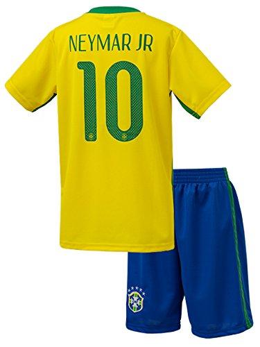 ネイマール サッカーユニフォーム ブラジル代表 ホーム 半袖 背番号10 レプリカ 子供用 ジュニア BRUGGE オリジナルセット商品 (ホーム, L)