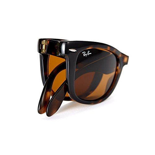 Ray-Ban Gafas de sol plegables Wayfarer en la Habana Luz RB4105 710 50, marrón