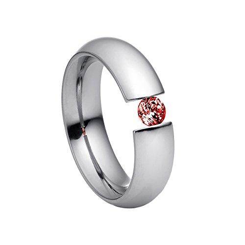 Heideman Ring Damen Intensio aus Edelstahl Silber farbend poliert Damenring für Frauen mit Stein Zirkonia rot im Brillant Schliff 4mm
