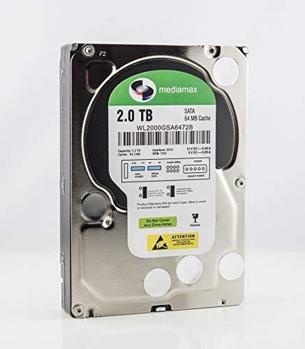 "Mediamax 3.5"" (8,9 cm) interne Festplatte 2TB HDD, SATA III, 6.0 Gb/s Cache 64MB, RPM: 7200 (U/min), 2000GB, WL2000GSA6472G, SATA Festplatte intern, Backup Festplatte für Desktop PCs, Gaming Computer"