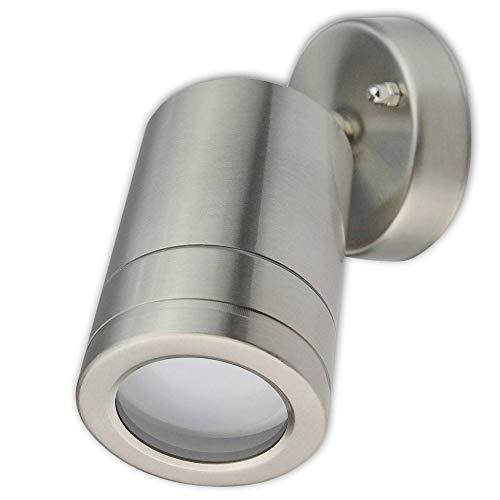 LED Wandleuchte Außen silber schwenkbar 9 Watt warmweiß – IP44 Außen-Leuchte aus Aluminium 116x76mm – GU10 Außenstrahler Garten-Lampe Boden-Strahler