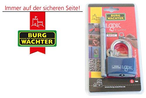 BURG-WÄCHTER Vorhängeschloss, Zum Gravieren oder Beschriften, 8 mm Bügelstärke, 2 Schlüssel, Look 402 50 SB