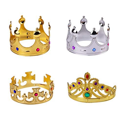 NUOBESTY oro plata fiesta reina corona plástico rey corona