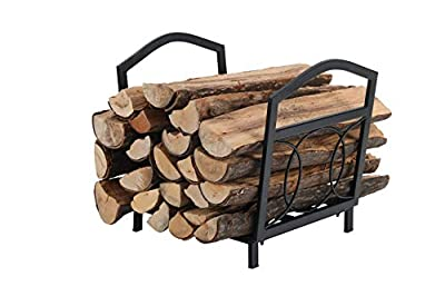 PHI VILLA 17 Inch Small Firewood Log Rack Decorative Indoor/Outdoor Steel Wood Storage Log Rack Wood Holder Circle Design, Black
